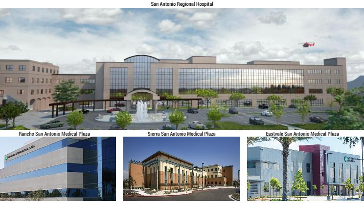 San Antonio Regional Hospital, Rancho San Antonio Medical Plaza, Sierra San Antonio Medical Plaza, Eastvale San Antonio Medical Plaza.