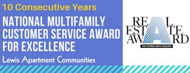 Lewis Apartment Communities Receives National Multifamily Customer Service Award for the 10th Consecutive Year